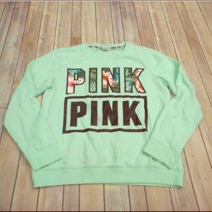 Victoria secret pink green floral m sweatshirt